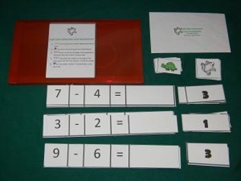 Single Digit Subtraction Using Manipulatives Math Center- Hard Good