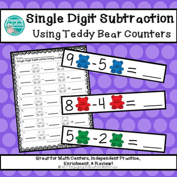 Single-Digit Subtraction Using Teddy Bear Counters
