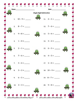 Single Digit Subtraction - Valentine's Day - Horizontal