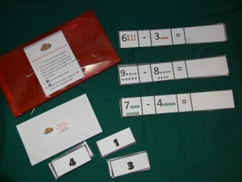 Single Digit Subtraction with pictures Math Center- Hard Good
