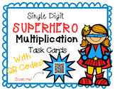 Single Digit Superhero Multiplication Task Cards With QR Codes
