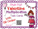 Single Digit Valentine's Day Multiplication Task Cards With QR Codes