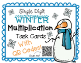 Single Digit Winter Multiplication Task Cards With QR Codes
