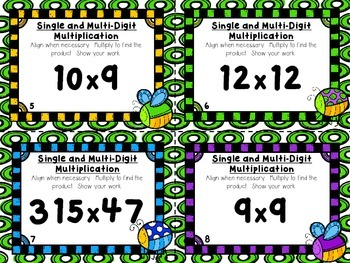 Single Digit and Multi-Digit Multiplication Task Cards