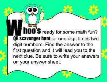 Single Digit times Double Digit Multiplication QR code Scavenger Hunt