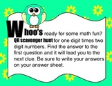 Single Digit times Double Digit Multiplication QR code Scavenger Hunt