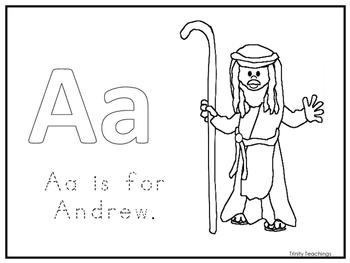 Single Disciple Andrew Worksheet.  Preschool-Kindergarten