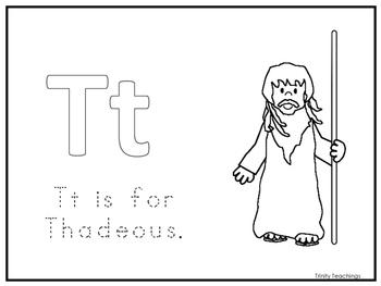 Single Disciple Thadeous Worksheet. Preschool-Kindergarten Bible Study.