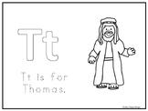 Single Disciple Thomas Worksheet. Preschool-Kindergarten Bible Study.