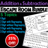 Single, Double and Triple Digit Addition and Subtraction Escape Room Math Bundle