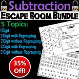 Single, Double and Triple Digit Subtraction Escape Room Math Bundle