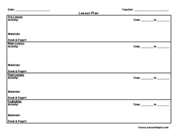 single lesson plan template