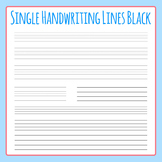 Single Line for Handwriting in Black - Lined Paper Clip Art for Commercial Use