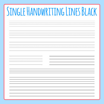 Single Line for Handwriting in Black - Lined Paper Clip Ar