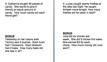 Single & Multi-Step Word Problems- add, subtract, multiply & divide -  SET #2