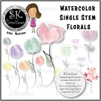 Single Stem Flowers Clip Art, Watercolor Flowers (Smita Keisser Clip Art)