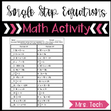 Single Step Equations Partner Matching Activity