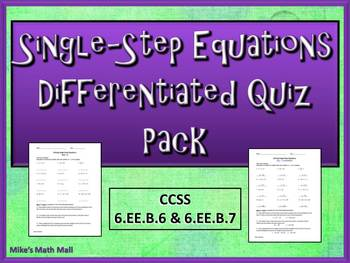 One-Step Equations - Differentiated Quiz Pack