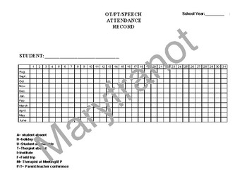 Single Student Therapy Yearly Attendance Form