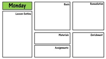 Subject Daily And Weekly Lesson Plan Template NonEditable - Single subject lesson plan template