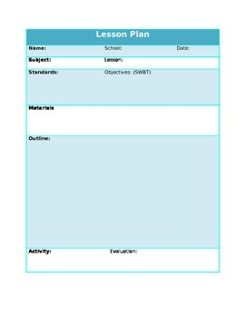 Single Subject Lesson Plan Template