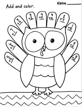 Single digit addition Coloring Printable Thanksgiving Fall Worksheet Owl Turkey