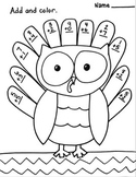 Single digit addition Coloring Printable Thanksgiving Fall