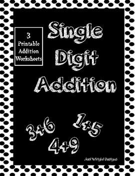 Single digit addition worksheets package- printable