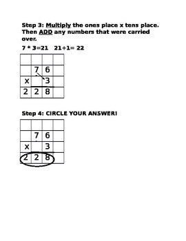 Single-digit by double-digit multiplication steps