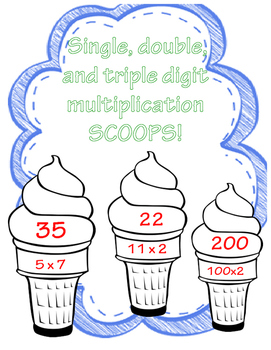 Single, double, and triple digit MULTIPLICATION SCOOPS