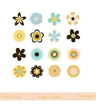 Single flowers clipart, Floral clip art set, Vintage retro blossom elements