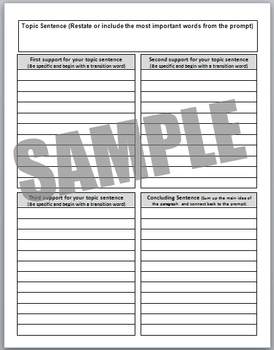 Single paragraph Four-Square Graphic Organizer