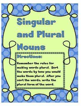 Singular Noun and Plural Noun Sort