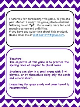 Singular Nouns to Plural Nouns Game with Game Board