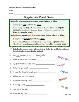 Singular & Plural Nouns by Real Mahoe | Teachers Pay Teachers