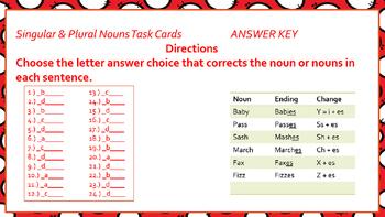 Singular & Plural Nouns Task Cards