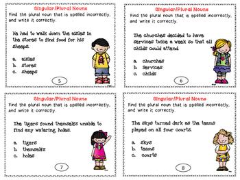 Singular/Plural Nouns Task Cards