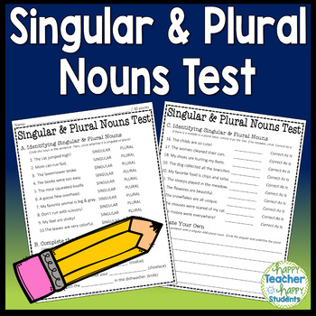 Singular & Plural Nouns Test: 2-Page Quiz with Answer Key