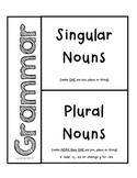 Grammar- Singular & Plural Nouns for Interactive Notebooks
