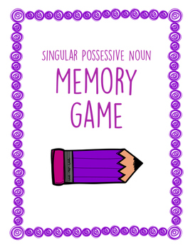 Singular Possessive Noun Memory Game