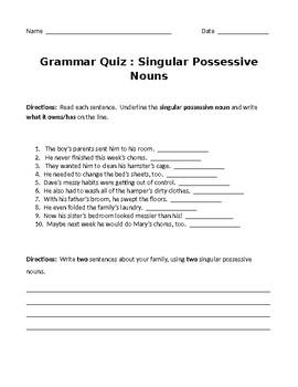 Singular Possessive Noun Quiz