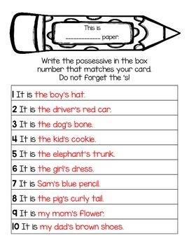 Singular Possessive Nouns ~ Word Work or SCOOT