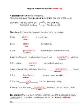 Nouns: Singular Possessive Nouns Worksheet and Key by BigRedApple