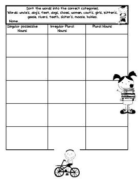 Singular Possessive, Plural, and Irregular Plural Noun Lesson Activity Packet!