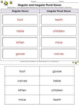 Singular and Irregular Plural Nouns Cut and Paste Activity #3 - King Virtue
