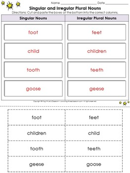 Singular and Irregular Plural Nouns Cut and Paste Activity #1 - King Virtue
