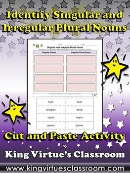 Singular and Irregular Plural Nouns Cut and Paste Activity