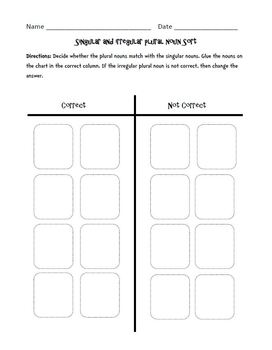 Singular and Irregular Plurals: Cut, Sort, & Paste Activity