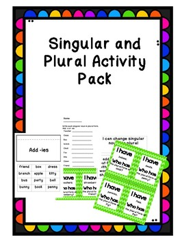 Singular and Plural Nouns  Activity Pack