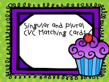 Singular and Plural CVC Matching Cards Writing Sentence Ca